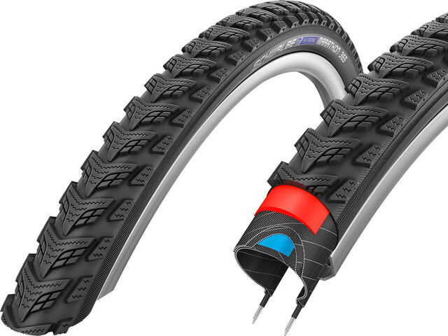 "SCHWALBE Marathon GT 365 Performance Clincher Tyre 28x2.15"" DualGuard E-50 Reflex, black"